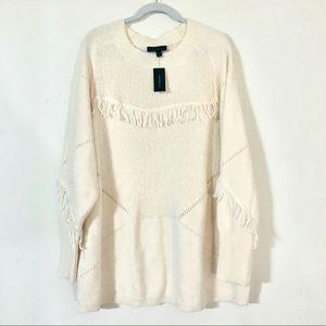 Plus Size Fringe Ivory Sweater -  Lane Bryant NWT!
